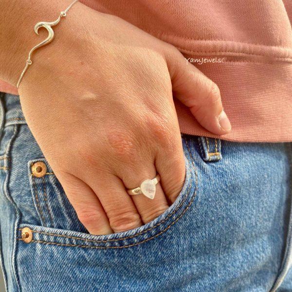 Combo-model-armband-ring-maansteen-zilver-wave