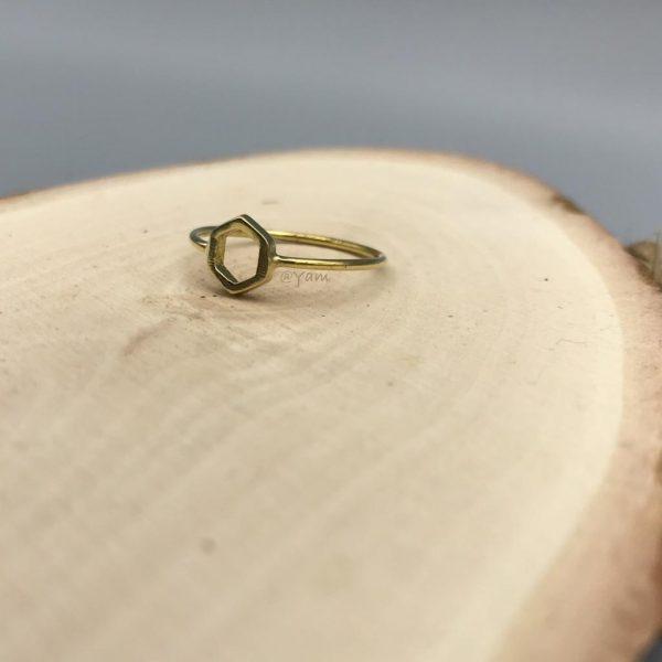 Ring-brass-koper-hexagon-zeshoek