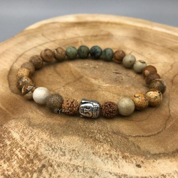 armband-afrikaans-turkoois-jaspis-rudraksha-buddha
