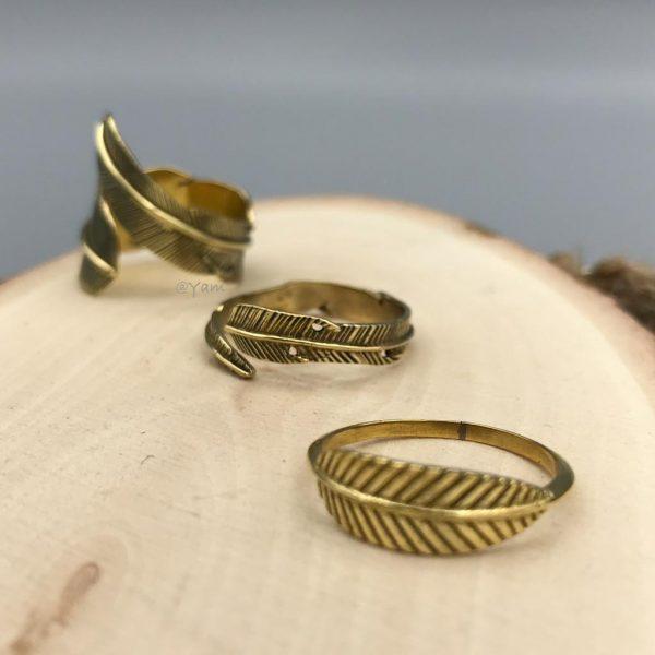 combo-ringen-brass-koper-feathers