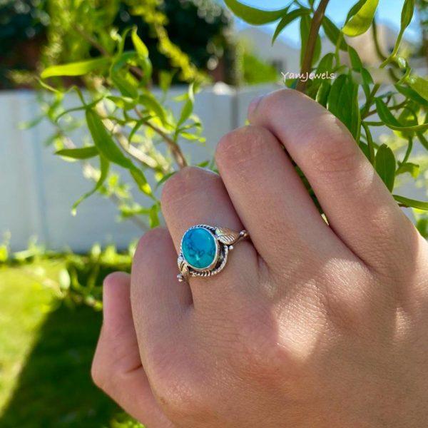 model-ring-zilver-turkoois-turquoise-ovaal-blad