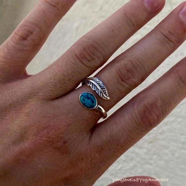 model-ring-zilver-veer-feather-turkoois-ovaal-oval