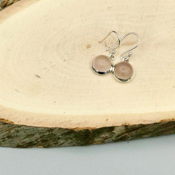 oorringen-rozenkwarts-rosequartz-rond-zilver-halfedelsteen