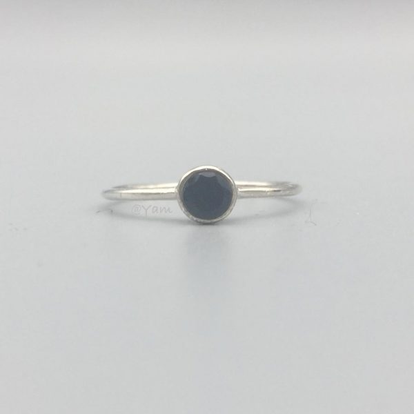 ring-rond-mini-onyx-zilver