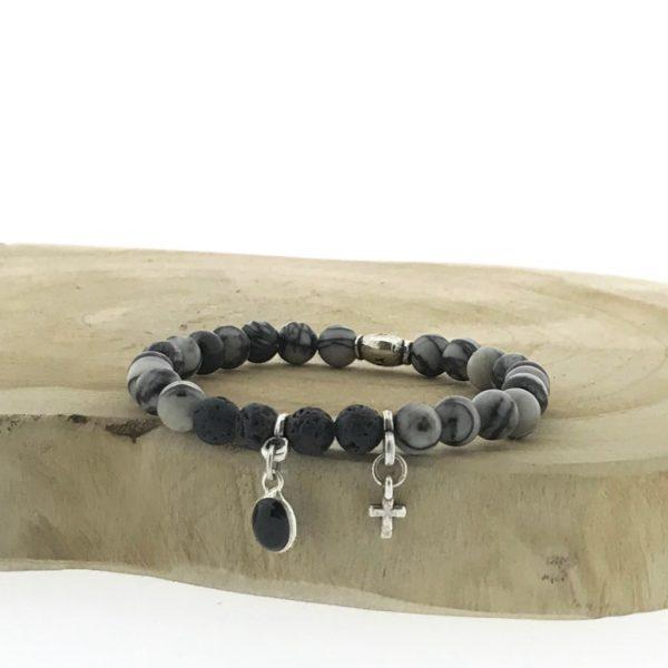 armband-bracelet-black-matt-agaat-charms-agate-zwart