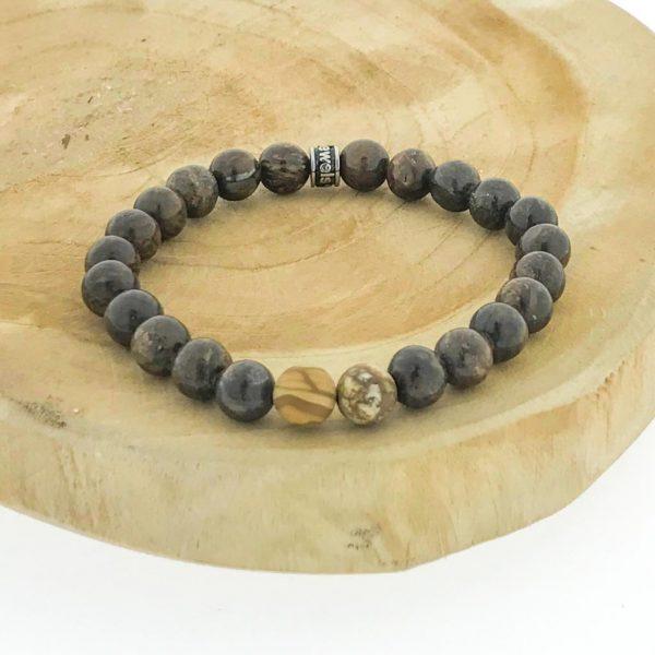 armband-bracelet-bronziet-bronzite-jaspis-wood-camel-jaspis