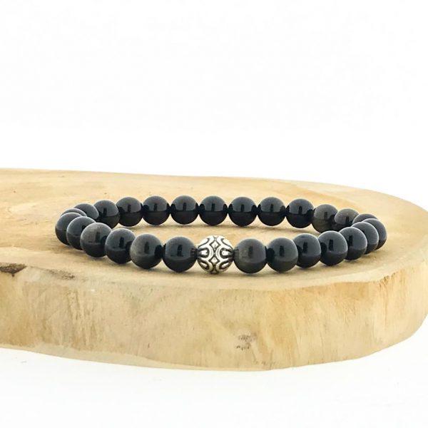 armband-bracelet-golden-obsidian-gouden-obsidiaan-silver-bead