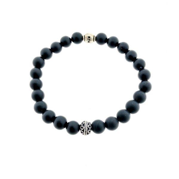 armband-bracelet-matt-mat-onyx-bead-silver