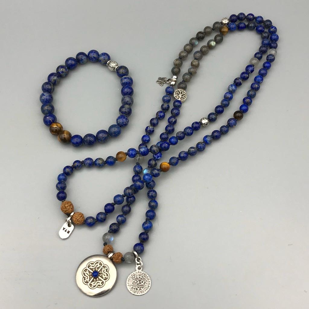108 mala Custom made & bracelet Lapis lazuli