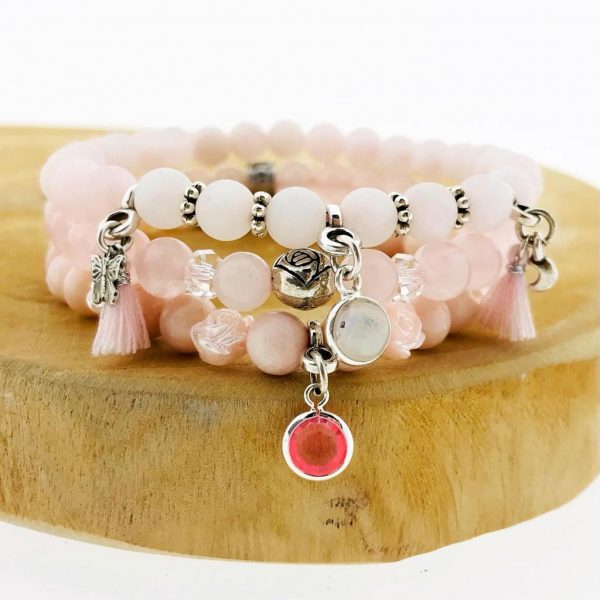 Bracelets-combo-rozenkwarts-rosequartz-opal-opaal-moonstone-yamjewels